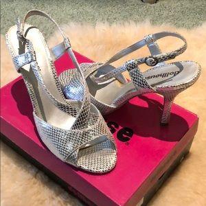 Dollhouse open toe silver heels
